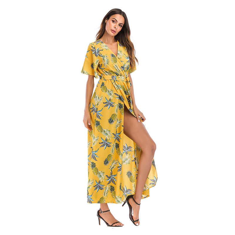fb3757755686137 Robe femme ete Новое шифоновое пляжное платье с v-образным вырезом летние платья  Цветочный vestido