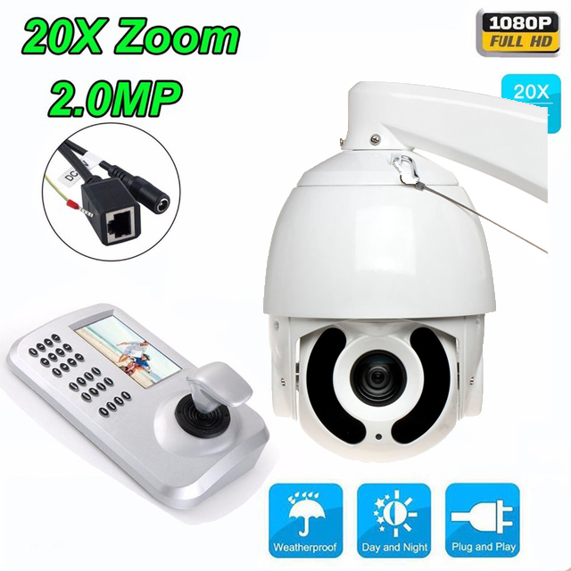 1080P HD 20x Zoom CCTV camera 7' high Speed IP dome Camera IR security Outdoor IP Camera with Keyboard Controller PTZ Camera Kit