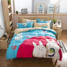 Kawaii Rabbit Cats Cartoon Childern Bedding Sets Queen Size Cotton Printed Fabric Bed Sheets Pillowcase Quilt Cover Bedroom Sets