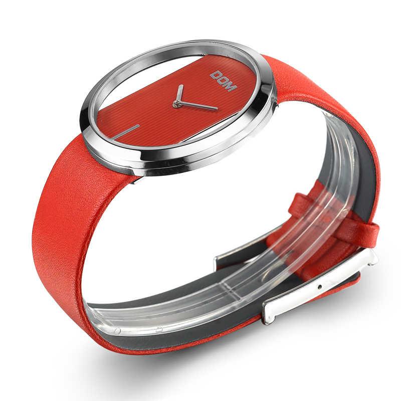 Dom relógio feminino moda de luxo casual 30 m à prova dwaterproof água relógios quartzo pulseira couro genuíno esporte senhoras elegante relógio de pulso menina