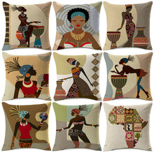 African Lady Dancing Sofa Decorative Pillows Cases Africa Symbols Modern  Decoration Art Linen Cushion Cover Bedroom