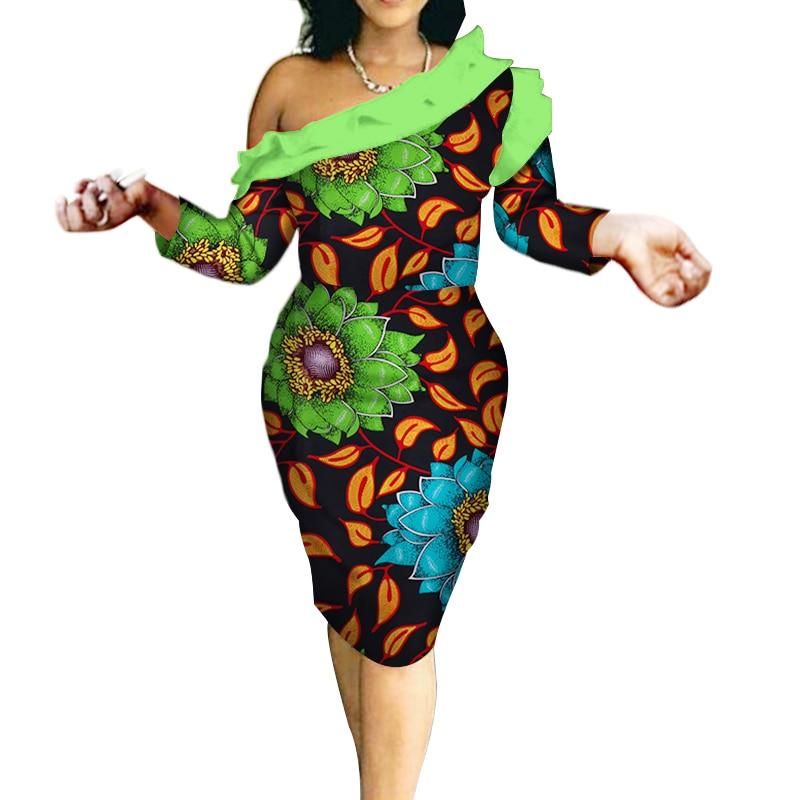 2018 automne robes africaines vêtements d'impression africaine pour les femmes grande taille femmes vêtements dame élégante avec épaule sans bretelles WY265