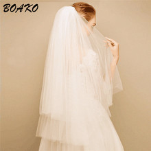 BOAKO Fashion Short Bridal Veils Two Layer 85cm with Comb White Ivory for Wedding Party Tulle Veiling 2019 Velo De Novia