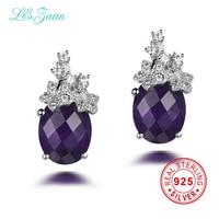 L Zuan 925 Sterling Silver Drop Earrings 8ct Natural Amethyst Classical Romantic Luxury Earrings Fine Jewelry