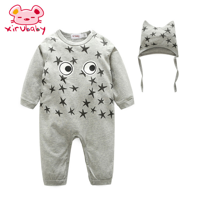 bc09be295 Xirubaby Long Sleeve Toddler Jumpsuit Romper+Hat Baby Infant Big eye ...