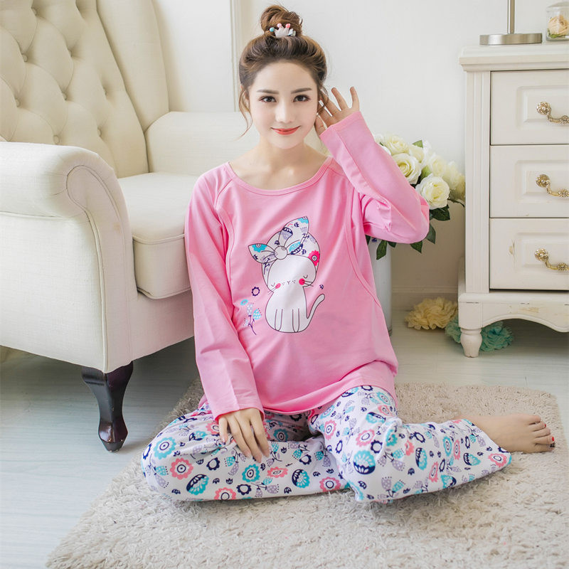 Spring and autumn Korean cartoon pajamas lactating pregnant women Home clothing maternal confinement long sleeved sleepwear ...