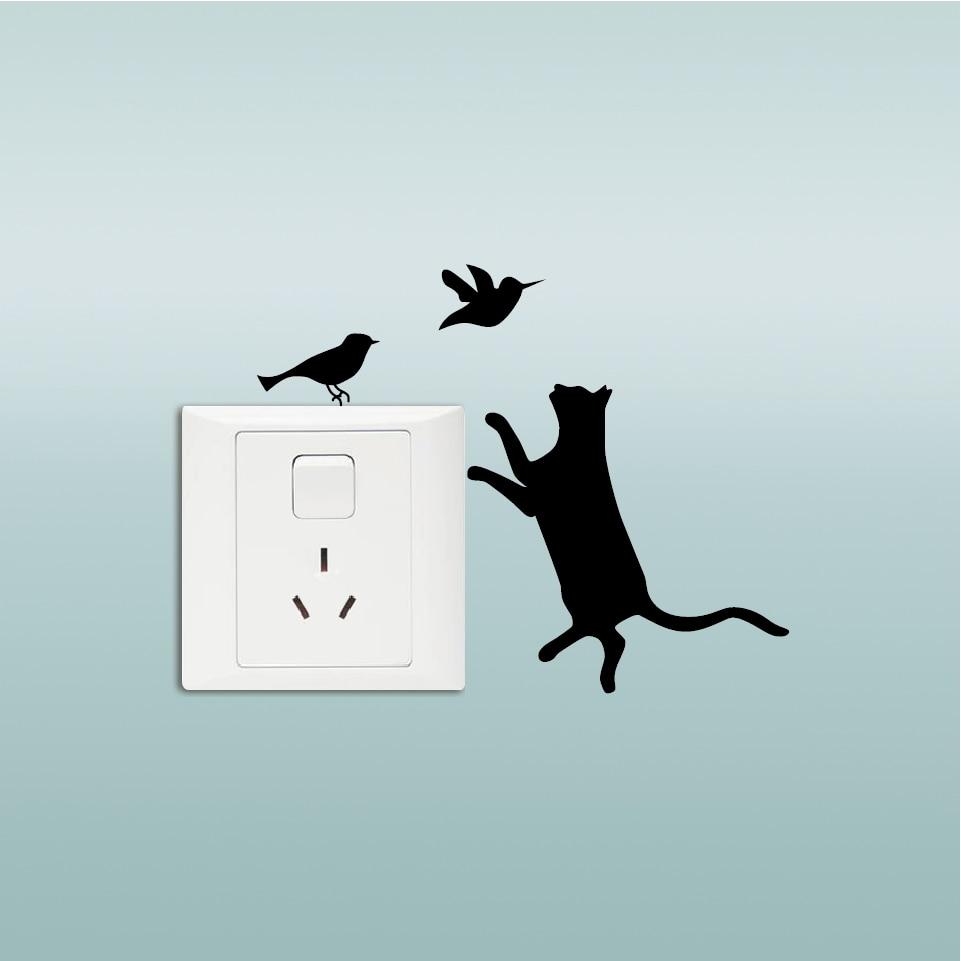 Kucing Nakal Seri Switch Stiker Lucu Kitty Suka Mengejar Burung Lampu Gantung Aeproductgetsubject