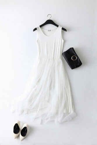 Модные женские весенне-летние лоскутные сетчатые вечерние платья газовое платье на бретелях Сарафан