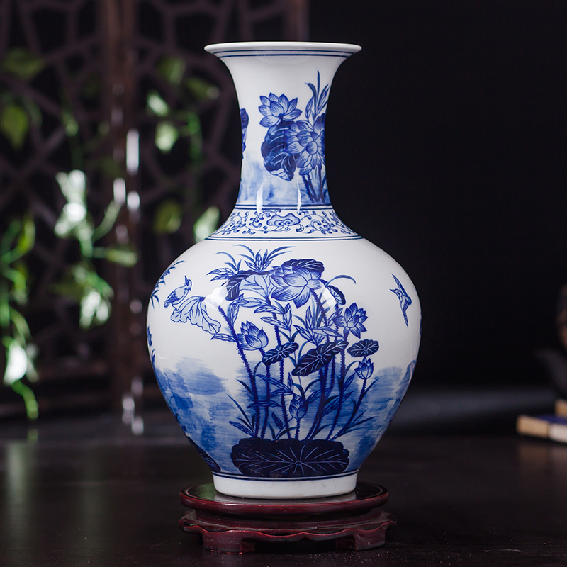 Jingdezhen ceramics porcelain vase ornaments of new Chinese style living room decorative flower vase flower vase table
