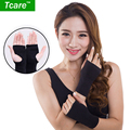 Tcare 1 pair Fiber Elastic Far Infrared Wrist Brace Wrist Support Band Belt Health Care Joint Care Fingerless Gloves Braces