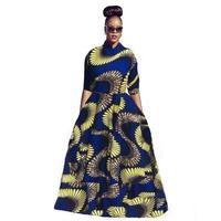 アフリカのドレスハーフスリーブエスニックプリントプラスサイズxxl床長さ部族ヴィンテージプリント女性ロングドレスツーピースドレスvestido