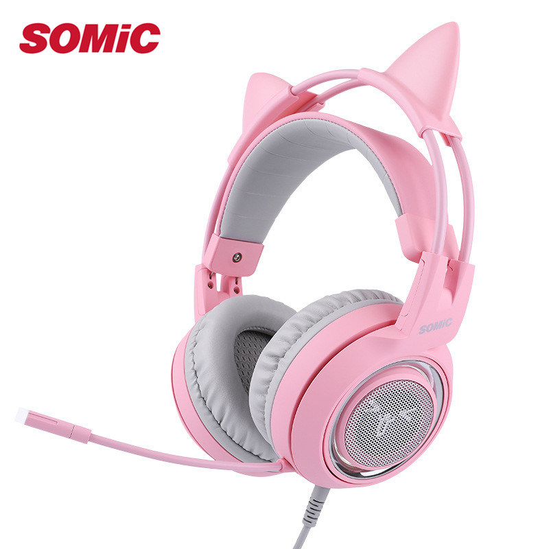 SOMIC G951PINK Headphone 7.1 Virtual Gaming Headphone Female Players Wired USB Headphone with Microphone Headsets 3D Surround