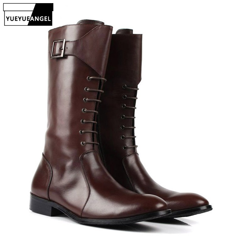 High Top Boots Men Lace Up Pointed Toe 100% Real Leather  Boots Winter Luxury Business Casual High Boot Hombre Black BrownHigh Top Boots Men Lace Up Pointed Toe 100% Real Leather  Boots Winter Luxury Business Casual High Boot Hombre Black Brown