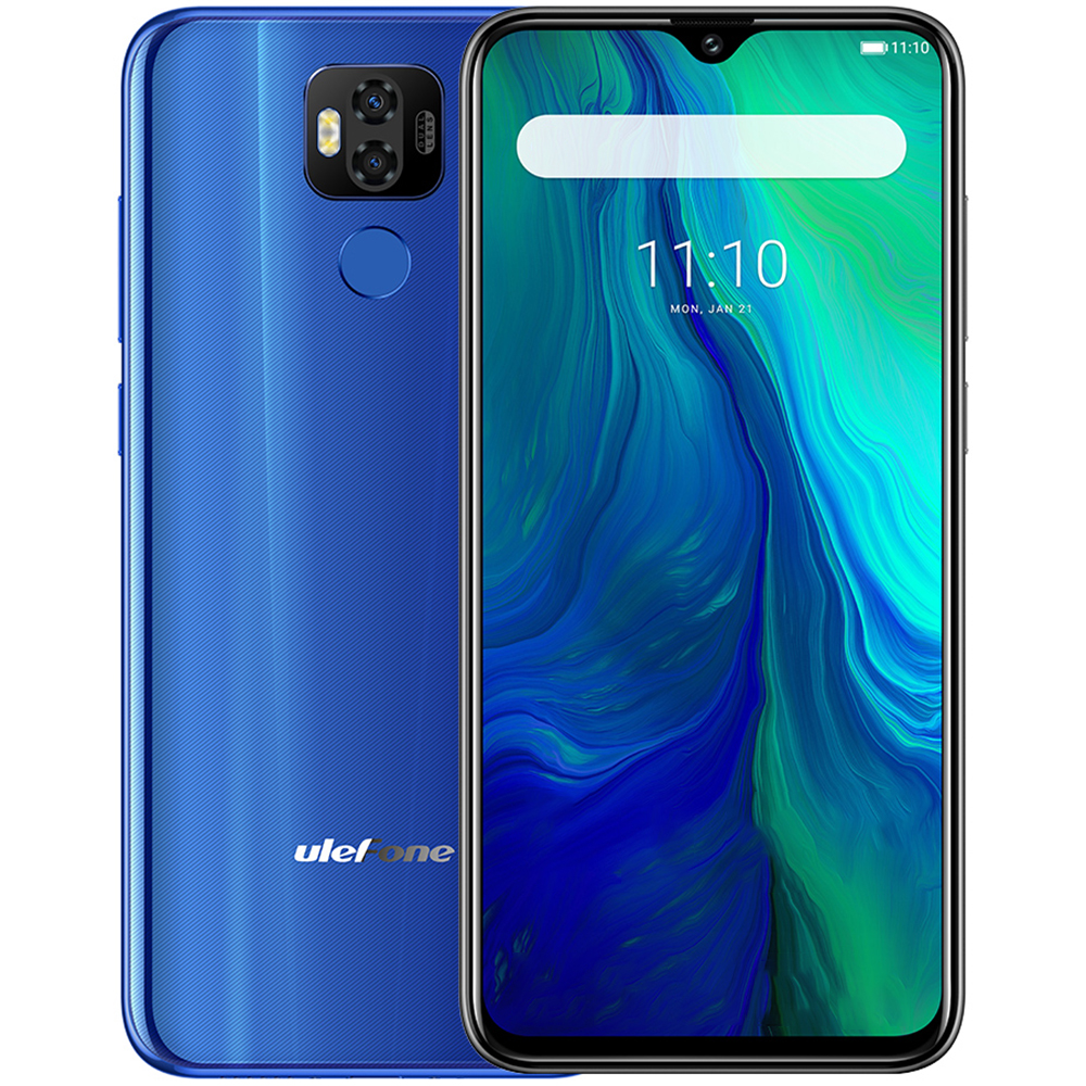 Smartphone Ulefone Power 6 4G 6.3 ''Android 9.0 Helio P35 Octa Core 2.3 GHz 4 GB RAM 64 GB ROM 16.0MP + 2.0MP 6350 mAh téléphones mobiles