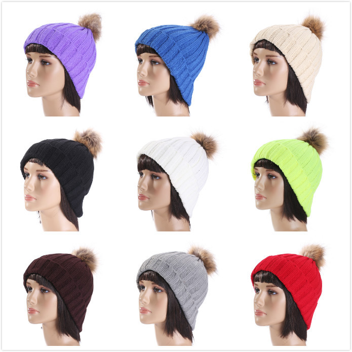 Fahsion New Fashion Winter Wool Hat Head Hair Bulb Ball Knitted Hats Solid Warm Cap For Women Free Shipping princess hat skullies new winter warm hat wool leather hat rabbit hair hat fashion cap fpc018