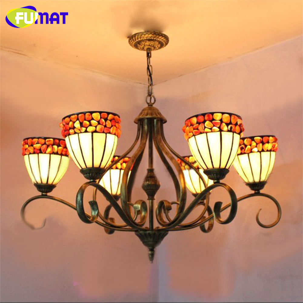 FUMAT Chandelier European Vintage Classic Glass LED Light Hanging Lamp Light for Dining Room Living Room Restaurant Villa Hall