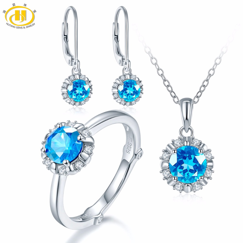 Hutang Natural December Birthstone Blue Topaz Solid 925 Sterling Silver Ring Pendant Earrings Gemstone Jewelry Sets Presents showcase presents blue beetle volume 1