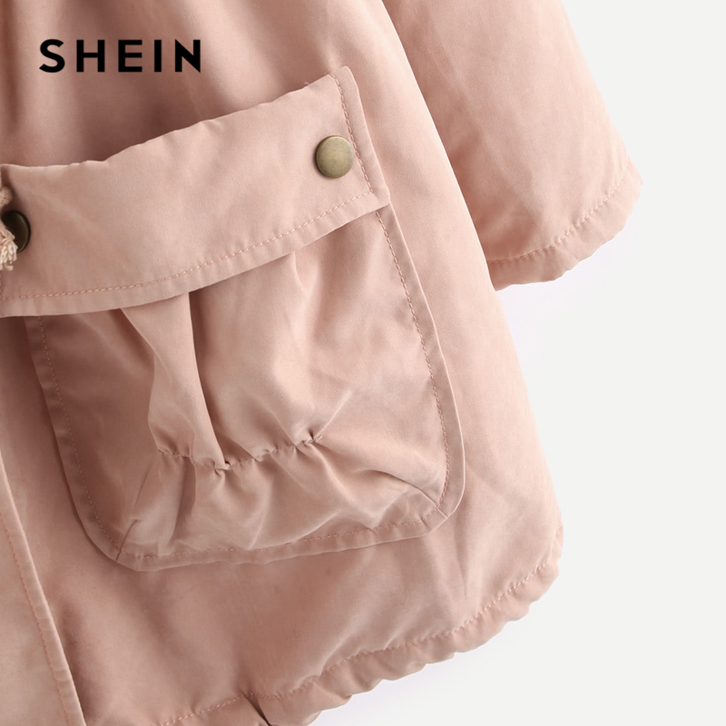 18899b8c4b Aliexpress.com : Buy SHEIN Pink Fleece Lined Pocket Front Drawstring Parka  Coat Preppy Zipper Long Coat Women Plain Winter Long Sleeve Coat from  Reliable ...