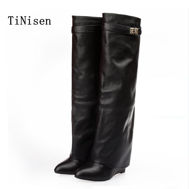 2018 leather boots women over the knee boots long boots women luxury shoes women designers Wedges Slip-On Med shoes