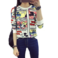 Mickey T Shirt Women Harajuku Kawaii ropa mujer 2016 Print Long Sleeve Tops Loose Shirt Japanese Female Camisetas Plus Size Tees