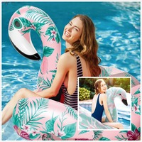 150cm Giant Flower Print Swan Pink Flamingo Inflatable Float For Adult Pool Party Toys Ride On Air Mattress Swimming Ring boia