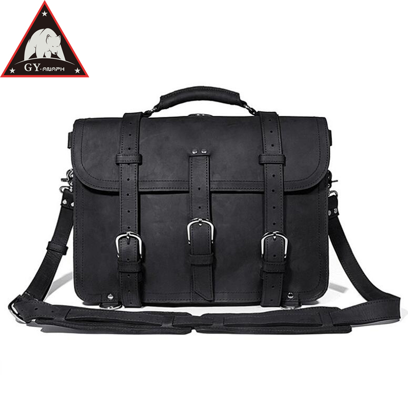 ANAPH Brand Travel Duffle Bag,Thick Leather Business Men Briefcases Fit 16 Laptop, Multi-Function Casual Bags Durable Black