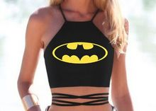 New Bat Man Women Halter Neck Tops Sexy Strapless Crop Top Bare Midriff Camisole Backless Tank Top Sexy Lace Up Camis Women Tops