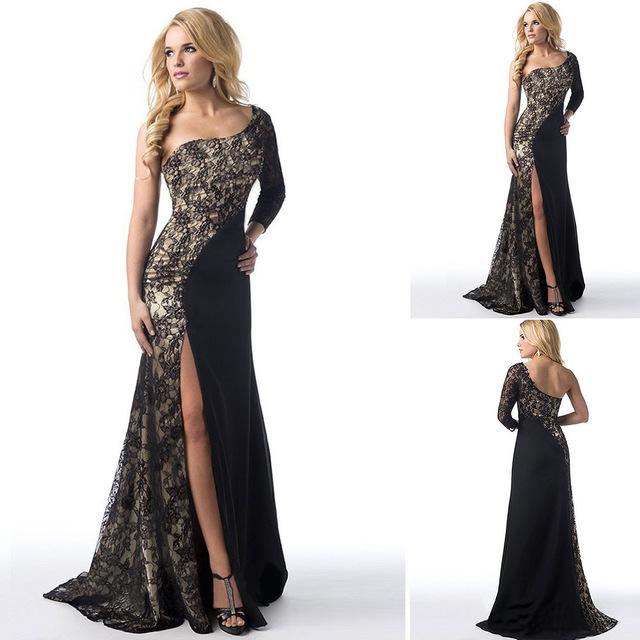 Sexy Evening Dresses Long One-Shoulder Lace Leg Slit Cheap Black Evening Gowns Burgundy Mermaid Robe De Soiree Longue 2018