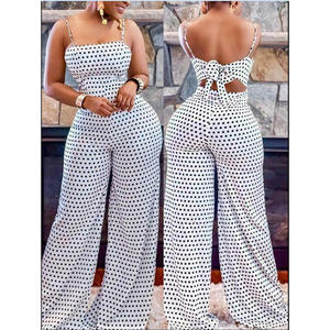 Romper Ladies Playsuit Party-Wear Wide-Leg Holiday Polka Casual Summer Women's New-Arrival