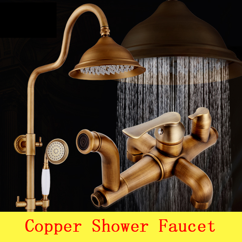 Antique bathroom brass shower faucet set,Wall mounted waterfall rain shower faucet mixer,Copper shower water tap set shower head luxury led bathroom shower head faucet chrome brass rain waterfall shower set faucet wall mounted with abs hand shower