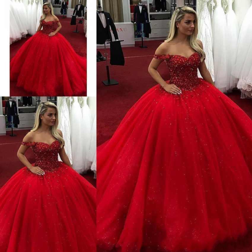 Nouveau 2019 Rouge Personnalisé Robe de Bal Parti Quinceanera Pageant Doux 16 Robes robes de bal Robes de quinceanera