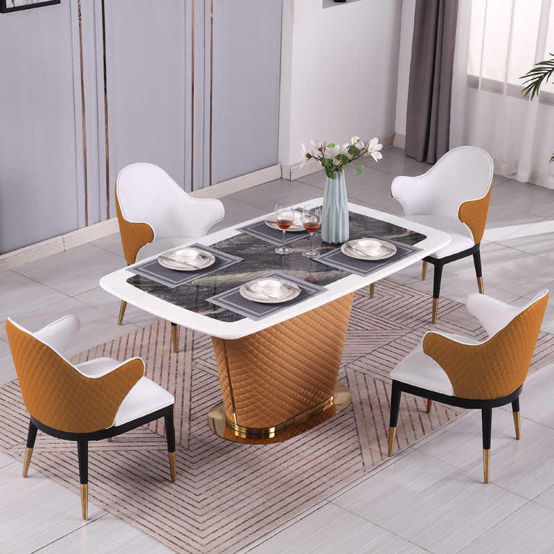 Postmodern Bentley Design Marble Leather Combination 6 Seater Dining Table Bedroom Sets Aliexpress
