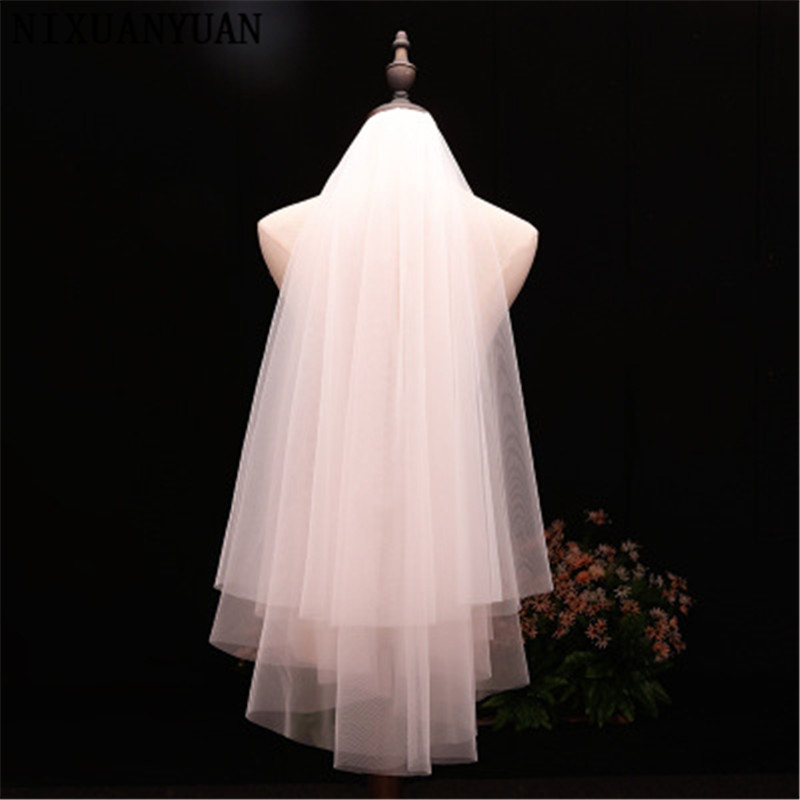 Top Quality Cut Edge Two Tier White/Ivory Puffy Tulle Bridal Veil Fingertip Length Tulle Wedding Veil With Metal Comb 2020