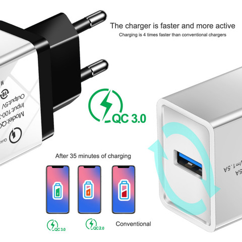 Universal 18 W USB Quick charge 3.0 5V 3A for Iphone 7 8 EU US Plug Mobile Phone Fast charger charging for Samsug s8 9 Huawei 2A Multan