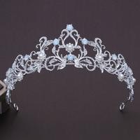 Độc đáo Ánh Sáng Màu Xanh Pha Lê Tiara Vương Miện Công Chúa Bridal Headband Cưới Tóc Phụ Kiện Thời Trang Mũ Pageant Prom Đồ Trang Trí