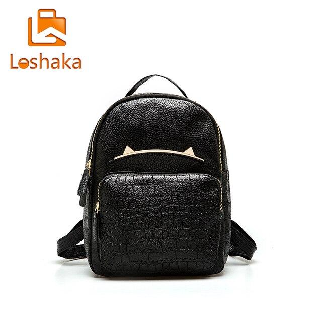 LOSHAKA Women Backpack Alligator Pattern PU Leather Backpacks Little Monster School Shoulder Bag Femmina Mochila Causal Rucksack