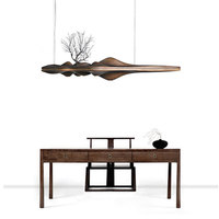 Chinese Style Creative Wooden Led Pendant Light 5 Lights Zen Retro Branch Lamp For Dining Study