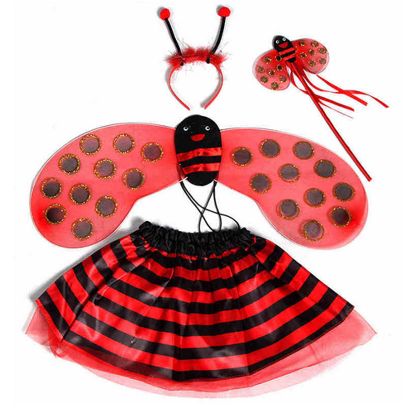 Lovely Kids Girls Bee Ladybug Wings Headband Magic Wand Skirt Theme Party Cosplay Princess Costumes Accessories Christmas