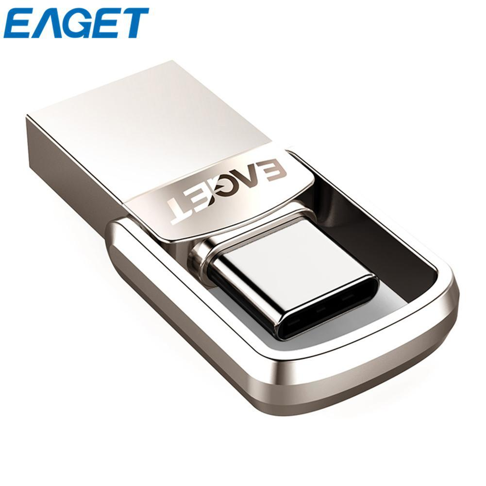 EAGET CU20 USB3.0 Type-C Pendrive USB OTG Type C 16GB 32GB 64GB Metal USB Flash Drive Dual Plug Mini USB Memory Stick eaget cu10 portable type c 3 1 usb3 0 dual interfaces u disk 32gb