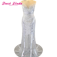 Luxury Crystal Beading Lace Appliques Sheer Neckline Mermaid Floor Length Evening Dresses for Wedding Party Custom Made