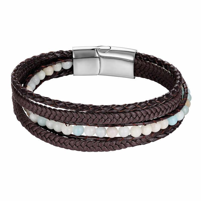 Fashion Braided Multi-layer Genuine leather Bracelets Men Stone Beads Rope Stainless Steel Charm bracelet Women Couple Wristband