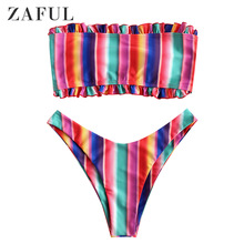 ZAFUL Women Sexy Swimwear Bandeau Bikini Set Frilled Colorful Striped Push Up Bathing Beachwear Swimsuit Strapless Bikinis 2019