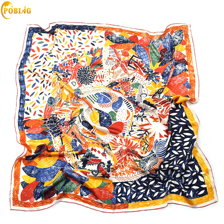 POBING 100 Real Silk Scarf Women Nepal Birds Graffiti Square Scarves Best Quality Hand Rolled Large