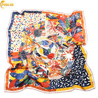 POBING 100% Real Silk Scarf Women Nepal Birds Graffiti Square Scarves Best Quality Hand Rolled Large Foulard Femme Bandana 110CM
