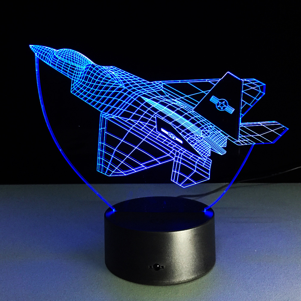 Chengdu J-20 Fighter 3D Night Light Novelty LED Plane Shape Table Lamp 3D Light Touch Switch Jet night light Kids Gif