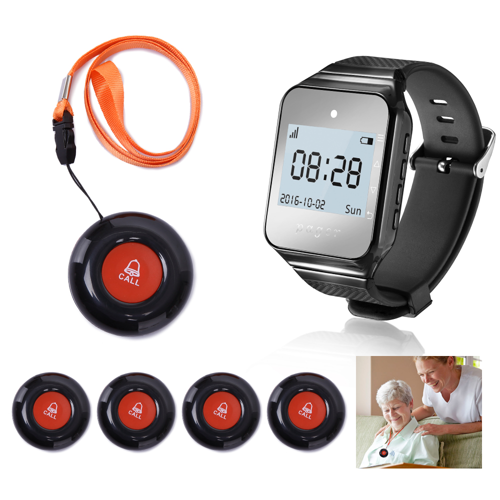 DAYTECH Wireless Coaster Pager Calling System Wrist Watch Receiver Waterproof Call Buttons Transmitter beeps and Vibration wireless service calling system paging system for hospital welfare center 1 table button and 1 pc of wrist watch receiver
