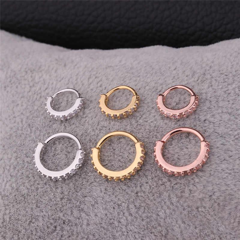 ROMAD Модные кольца для носа для женщин со стразами и цирконием мужские серьги-гвоздики маленькое кольцо в нос пирсинг уха ювелирные изделия для тела R5