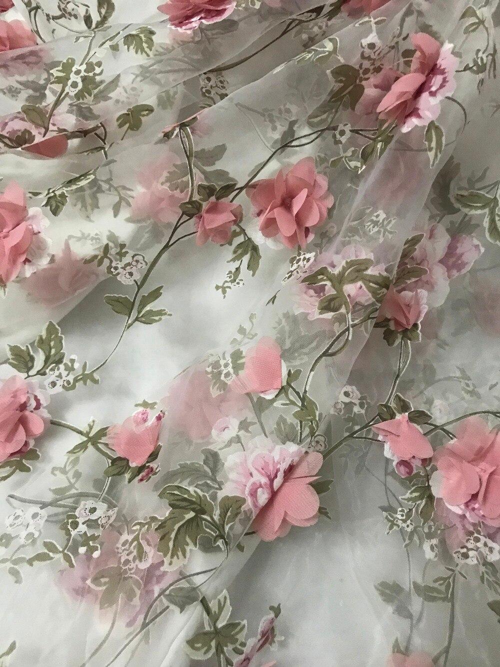 Tela de encaje de tul nigeriano tela de encaje de red francesa JIANXI.C 52815 tela de malla bordada con flor 3d-in encaje from Hogar y Mascotas    1