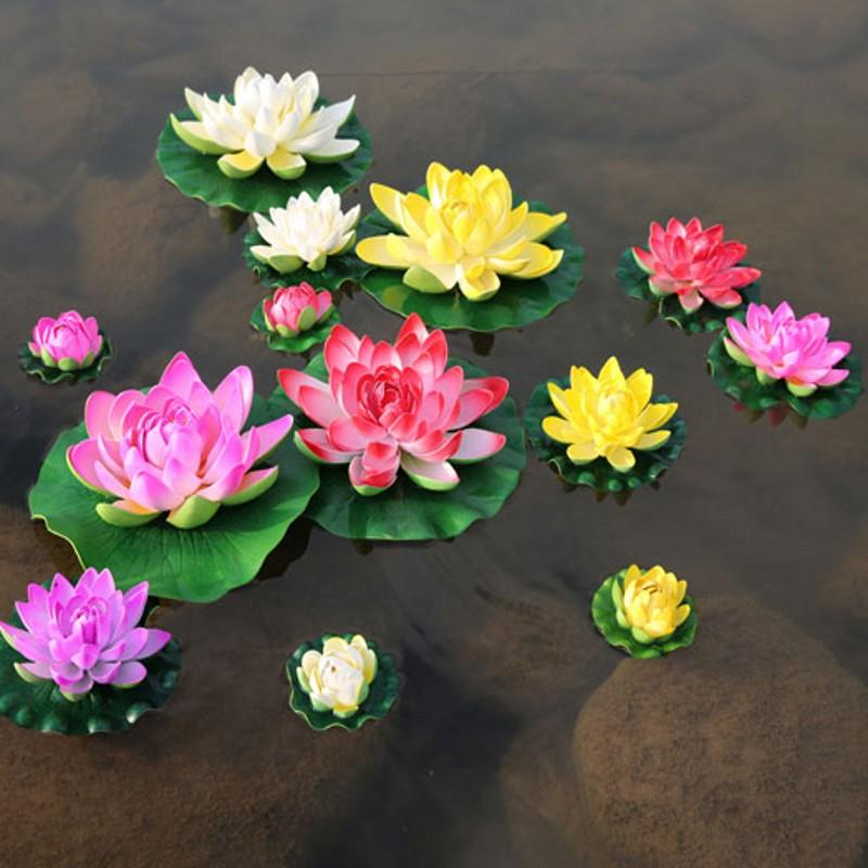 10 CM Dia Floating Artificial Lotus Ornament for Aquarium Fish Tank Pond Water lily Lotus Artificial Flowers Home Decoration