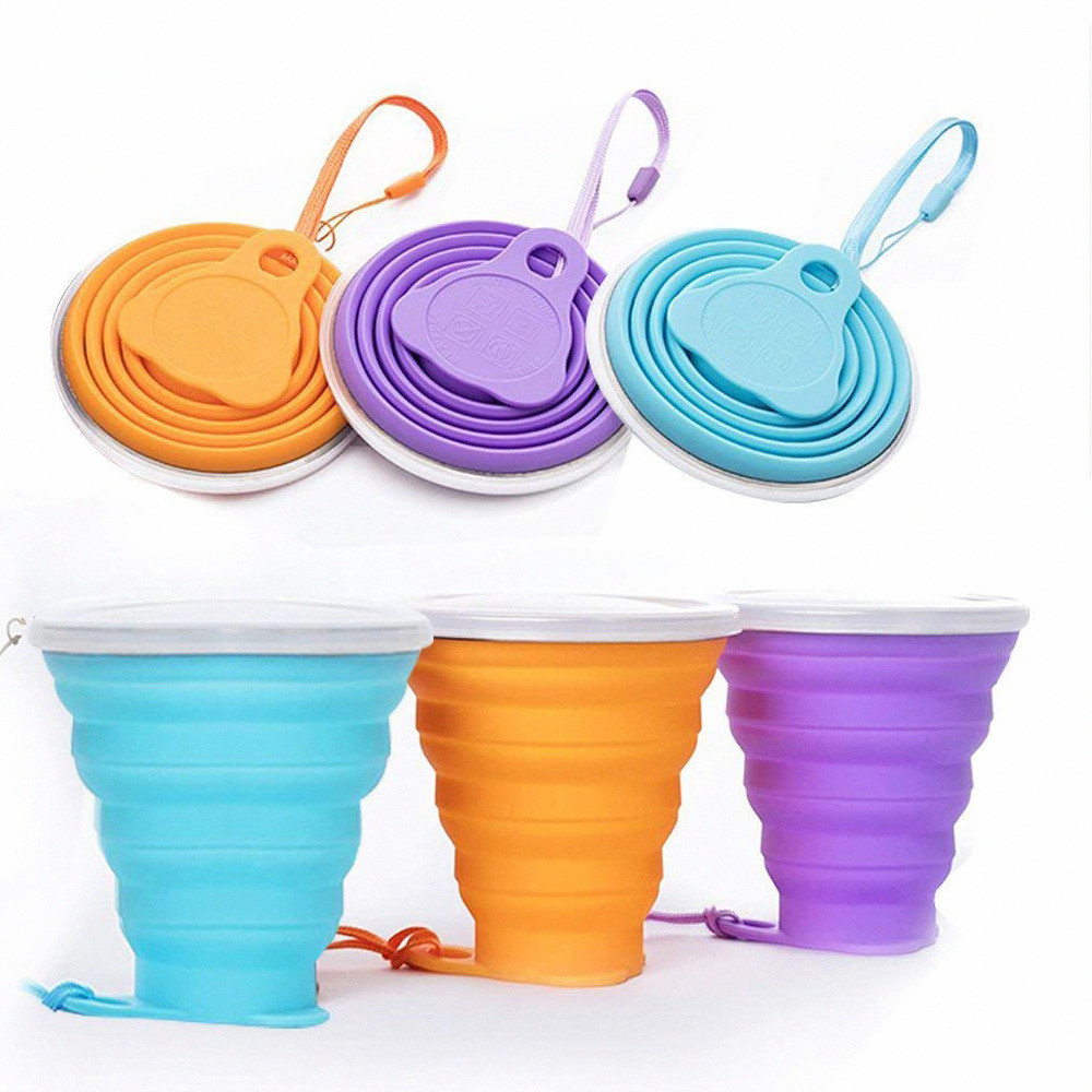 270ml Silicone Travel Cup Retractable Folding Coffee Cup Telescopic Collapsible Tea Cup Outdoor Sports Tour Water Cup
